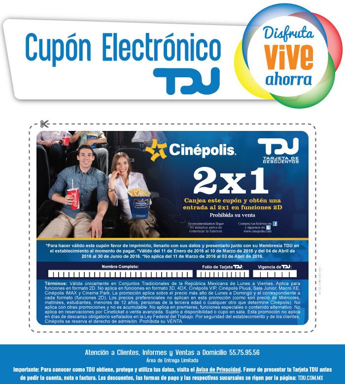 Cinépolis 2x1 Con tarjeta TDU (Sam's benefits)