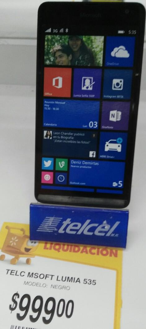 Walmart: Celular lumia 535 a $999
