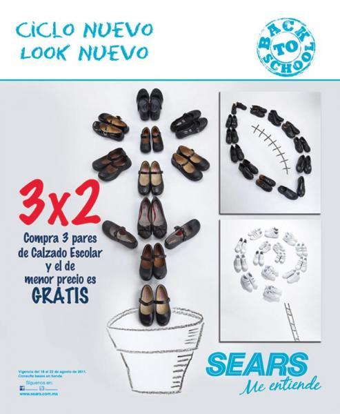Sears: 3x2 en calzado escolar