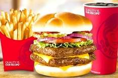 Groupon & Wendy's: Combo Mediano de hamburguesa Bacon & Blue, Pollo Spicy o Dave´s sencilla con queso a $55