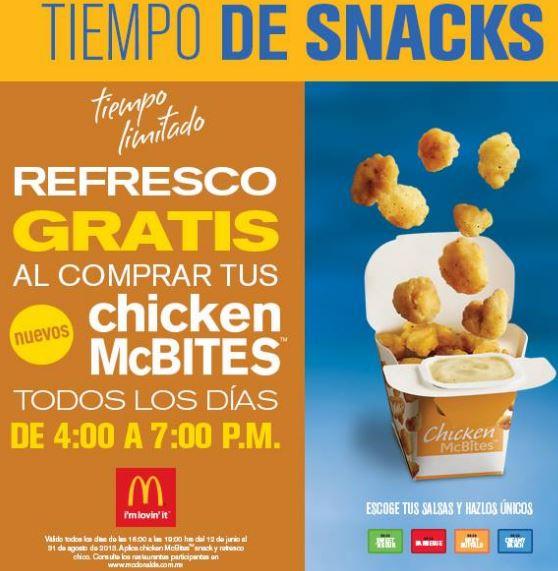 McDonald's: refresco gratis comprando Chicken McBites de 4 a 7