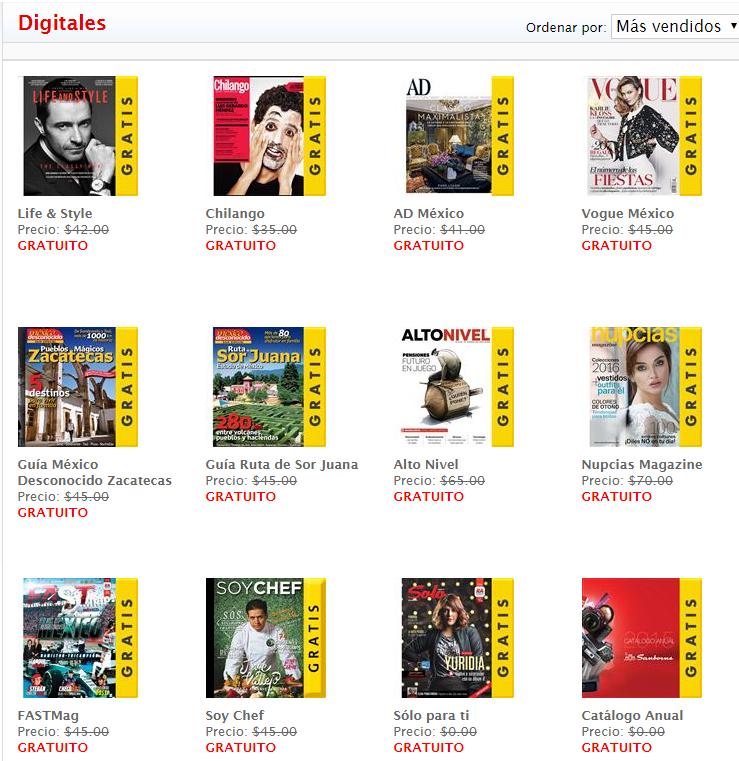 Sanborns: Revistas electrónicas Gratis en diciembre 2015