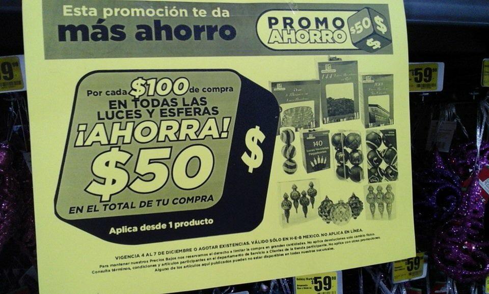 HEB: $50 de descuento por cada $100 de compra en esferas, luces y chamarras y más