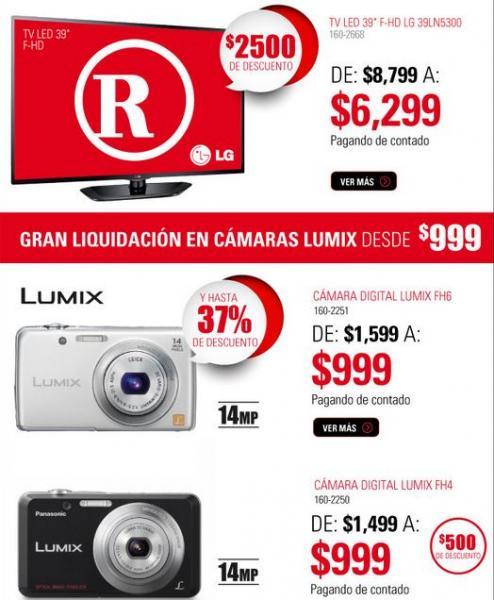 """RadioShack: pantalla LG LED 39"""" $6,299, cámara Lumix FH6 $999 y más"""