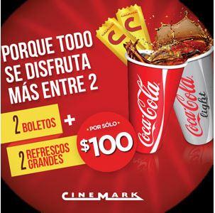 Cinemark: 2 boletos y 2 refrescos grandes por $100