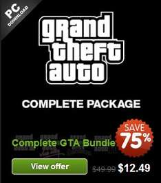 Grand Theft Auto Complete Bundle para PC 10 dólares y más