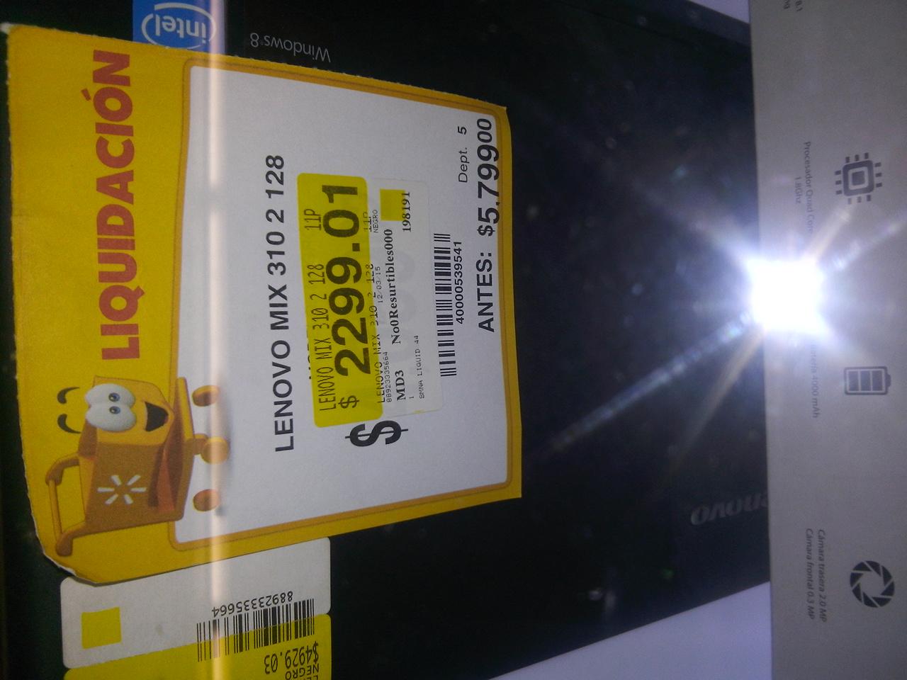 Walmart: Lenovo miix 310 de $5,799 a $2,299.01