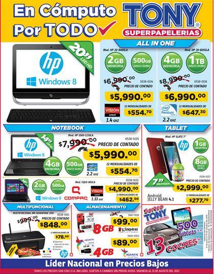 Papelerías Tony: laptop HP con procesador i3 y 4GB de RAM $5,990