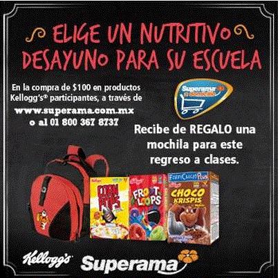 Superama: mochila gratis comprando $100 de productos Kellogg's