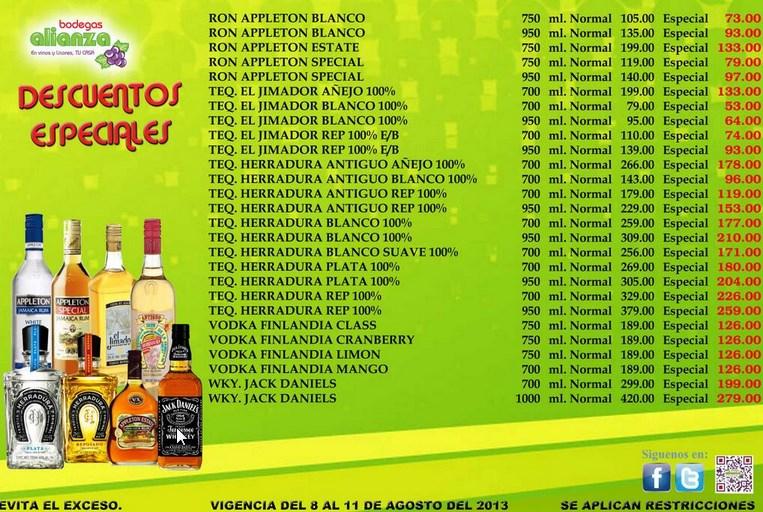 Bodegas Alianza: ron Appleton $73, tequila Cazadores $149, Antiguo $96 y +