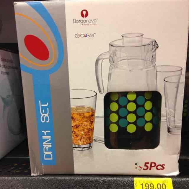 Walmart: drink set jarra con 4 vasos marca Borgonovo a $55.03