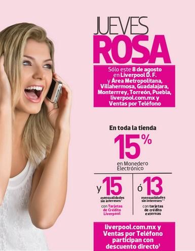 Jueves Rosa en Liverpool 8 de agosto: 15% en monedero en toda la tienda
