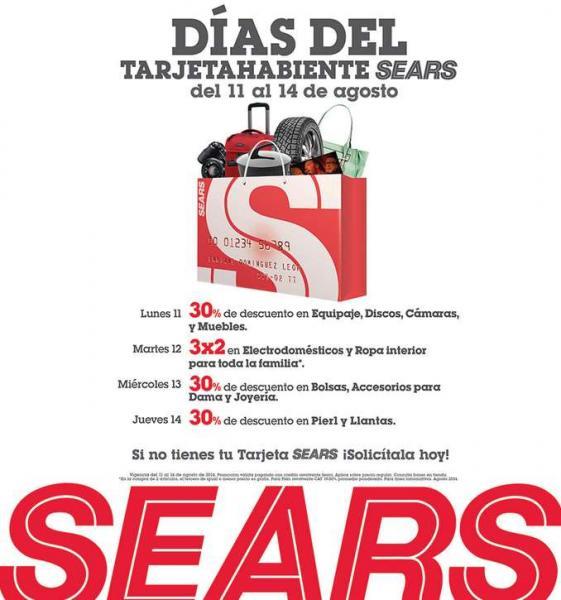 Sears: días del tarjetahabiente del 11 al 14 de Agosto con ofertas especiales