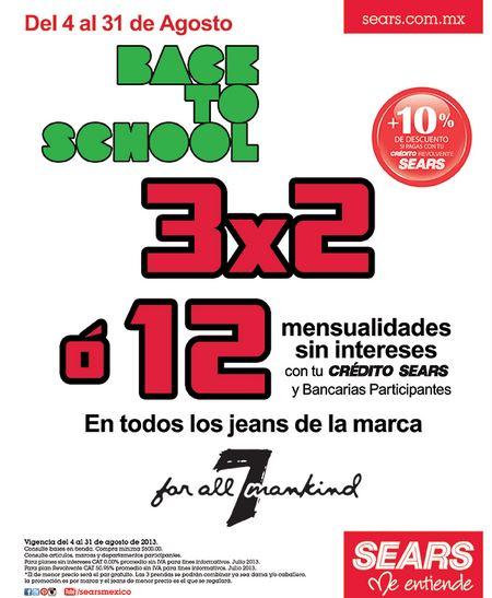 Sears: 3x2 en jeans Seven y promoción de regreso a clases