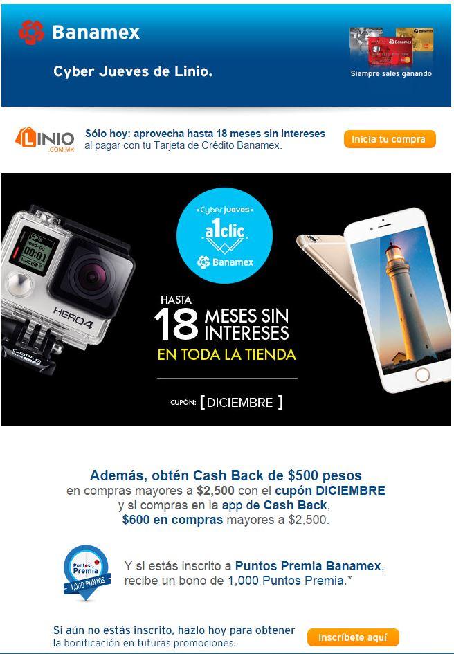 LINIO: Cyber Jueves con Banamex. 18 MSI