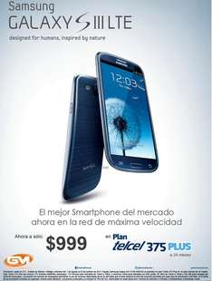 Telcel: Samsung Galaxy SIII LTE a $999 en plan Telcel Plus 375