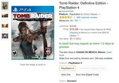 Amazon USA: videojuegos PS4 desde 15 dólares (Tomb Raider, PES 2015, The Order y TLOU)