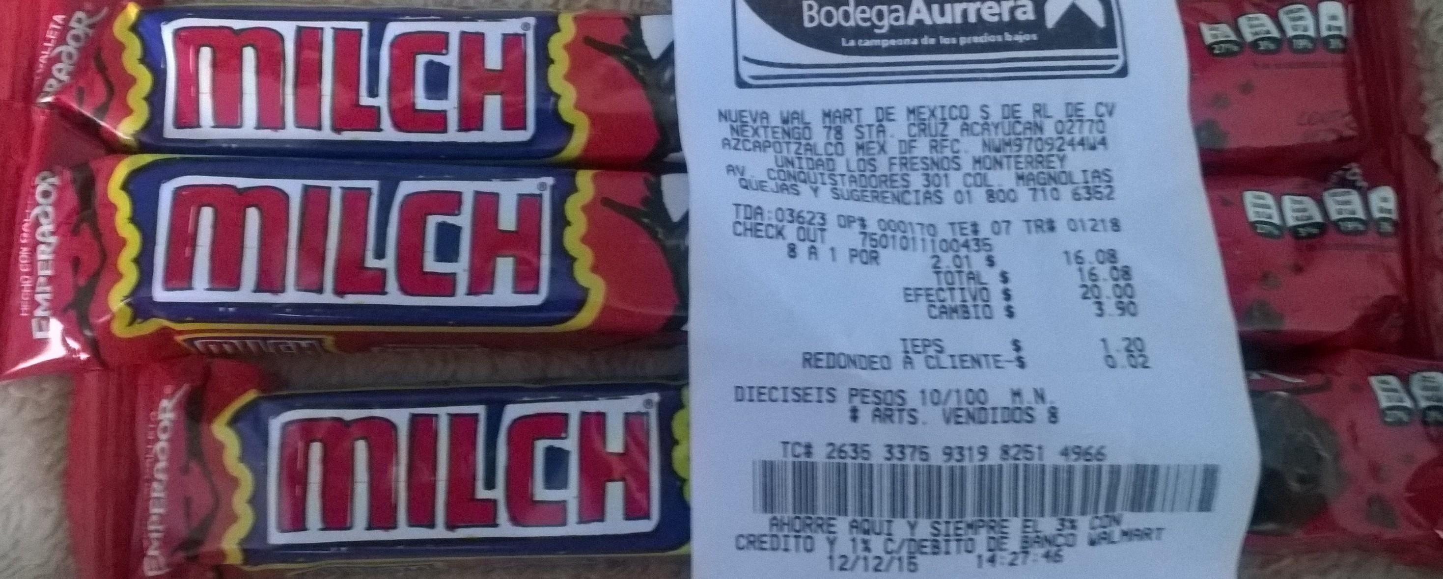 Bodega Aurrerá chocolate milch emperador a 2 pesitos