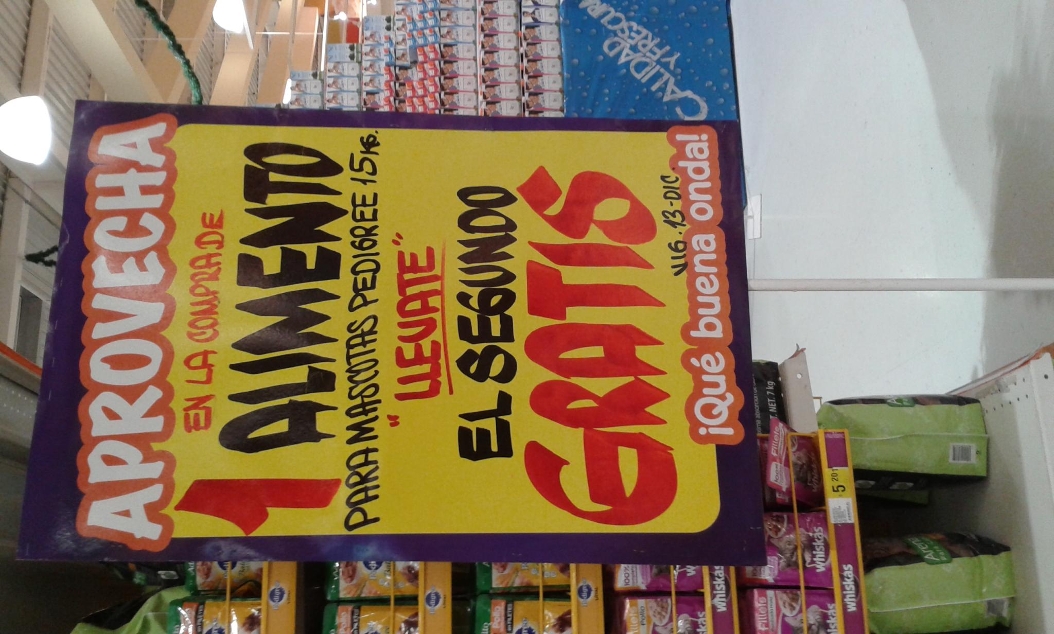 Mega Comercial Mexicana,  En la compra de 1 bolsa de 15kg de Pedigree gratis el segundo