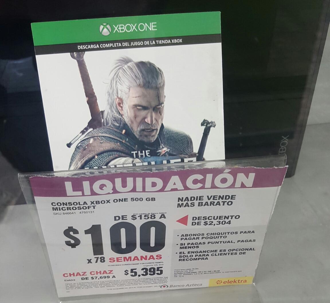 Elektra Veracruz (suc centro 5 de mayo) Xbox one 500gb con the Witcher, diadema y control.