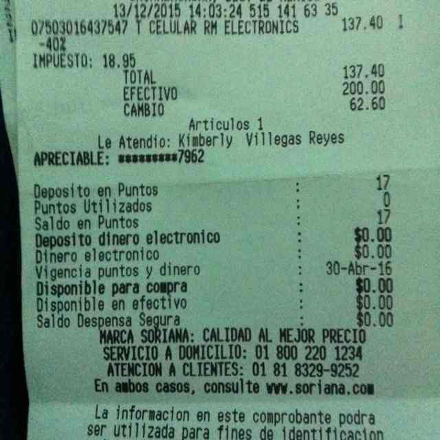 Mercado Soriana: celular basico sin chip