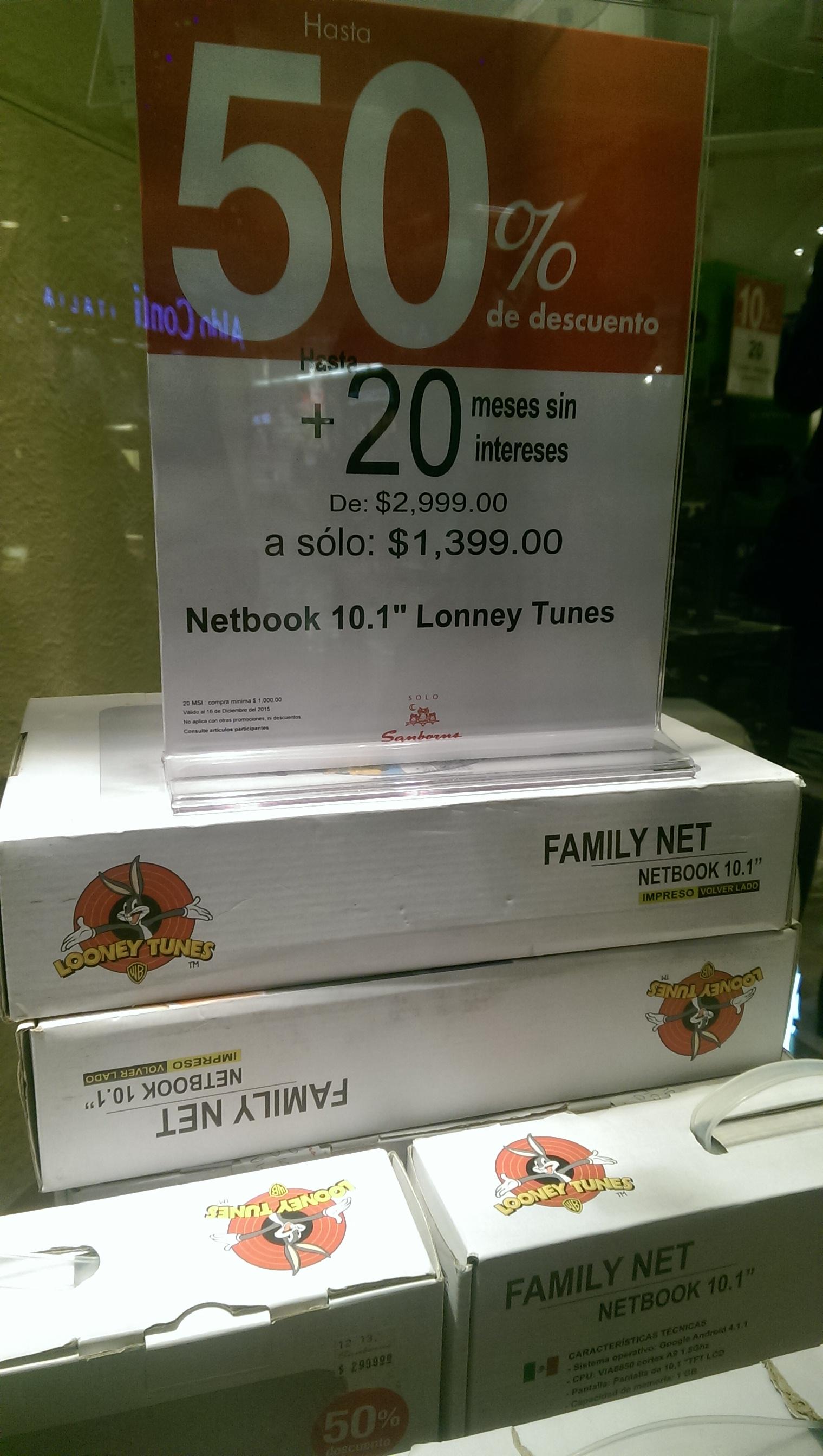 """Sanborns: Netbook 10.1"""" Looney Tunes de $2,999 a $1259 por internet y $1,399 en tienda"""