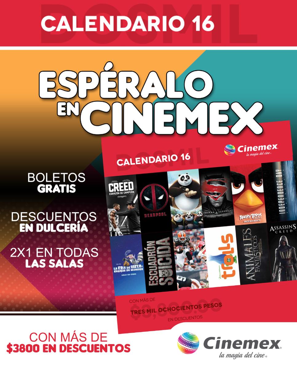 Cinemex. Calendario 2016, Entradas Gratis, al 2x1 y descuentos por solo $75.00 o $65.00 con credencial de invitado especial.