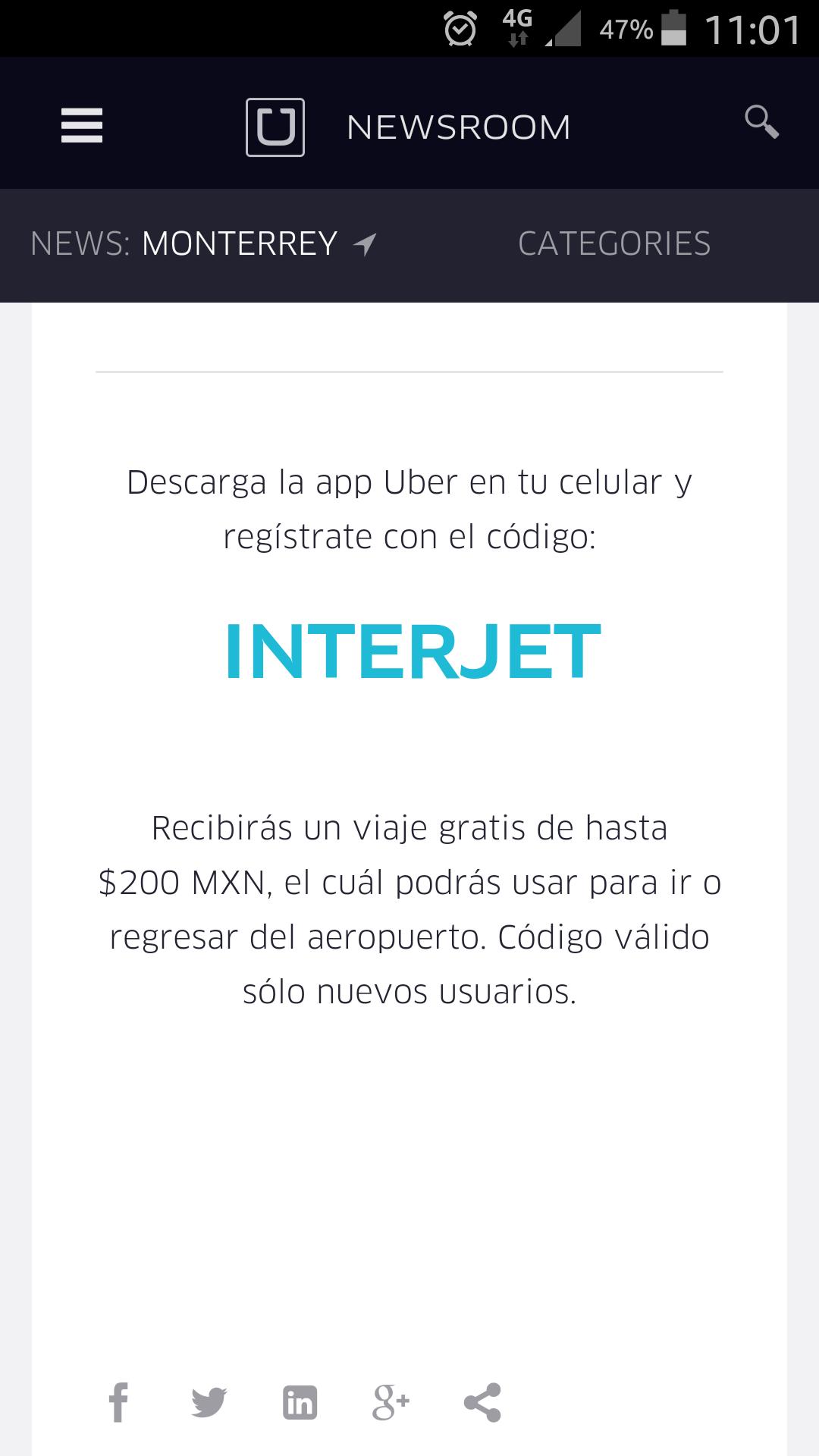 Uber: cupón de 1 viaje de $200 para usuarios nuevos (+ sorteo)