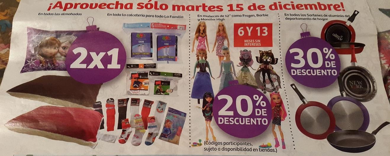 Soriana Híper: 15 Diciembre, 2x1 en Almohadas y Calcetería, 20% en Muñecas y 30% en Sartenes