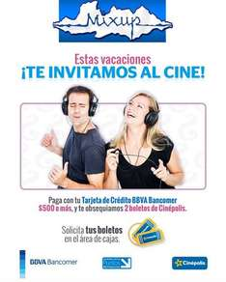 Mixup: 2 boletos de cine gratis pagando con Bancomer