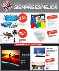 "City Club: 35% de descuento en albercas, pantalla LED 3D de 42"" + blu-ray 3D LG $7,399"