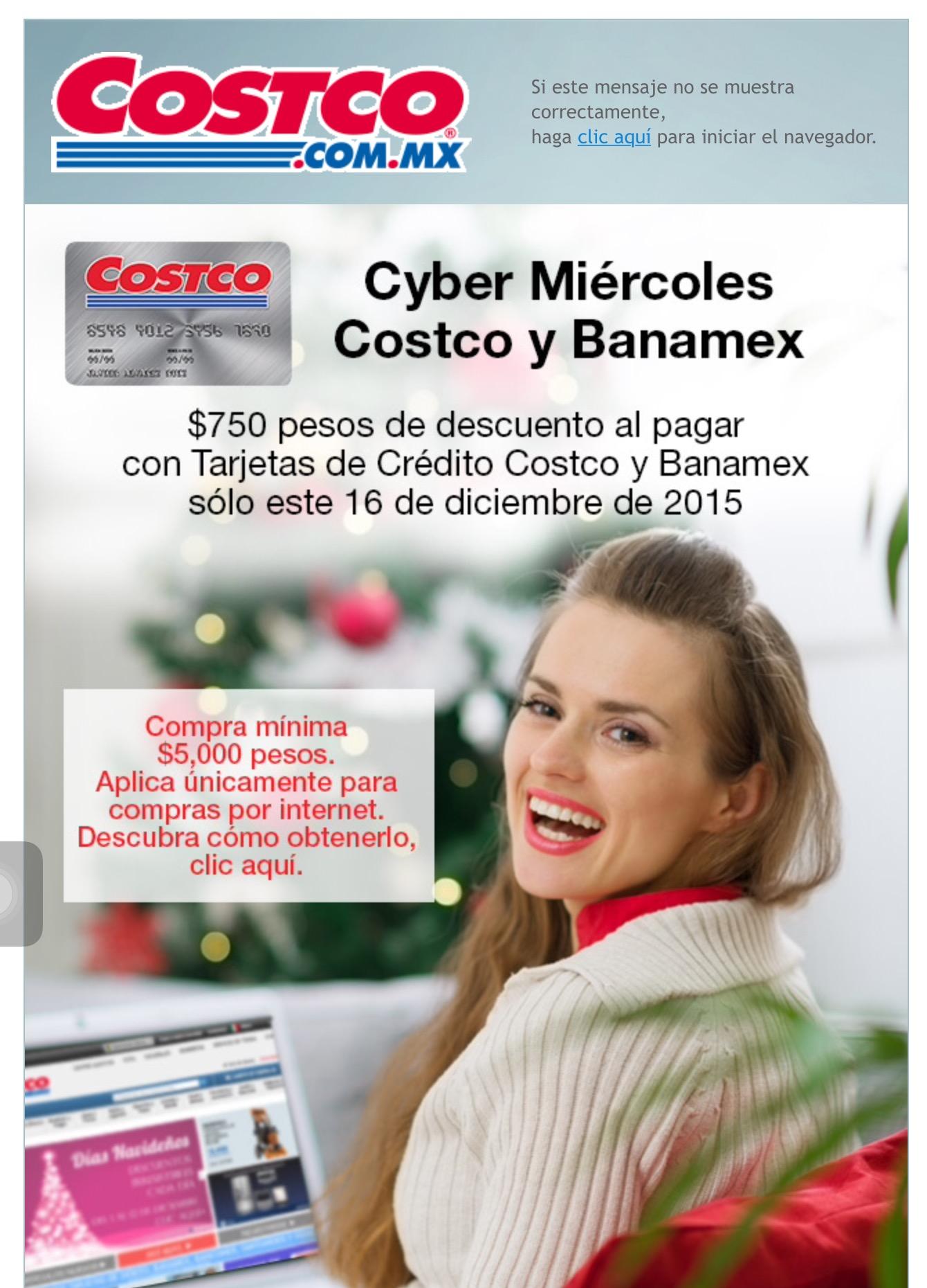 Costco (Cyber miércoles): $750 de descuento en compras superiores a $5000 pagando con tarjetas Costco o Banamex