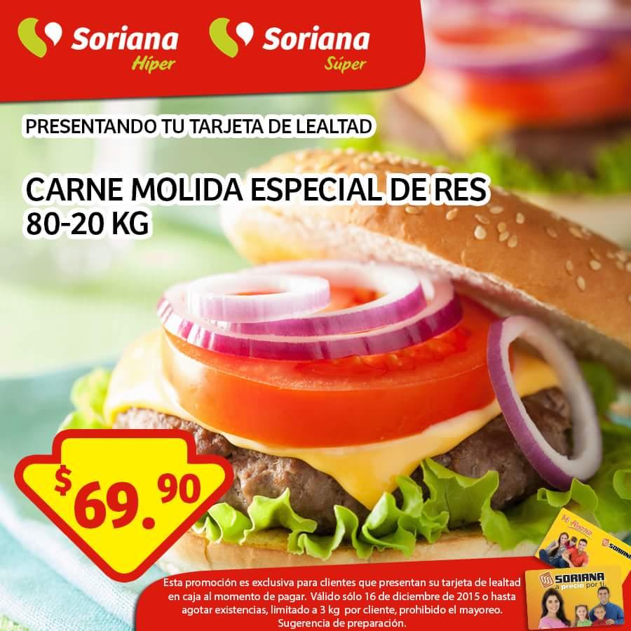 Soriana: Solo hoy 16 de Diciembre. Carne Molida de Res Especial $69.90 el kilo, presentando tarjeta de lealtad