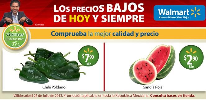 Ofertas de frutas y carnes en Walmart y Chedraui julio 26 a 28
