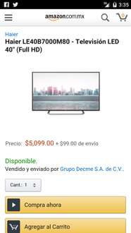 "AMAZON MX pantalla 40"" Haier full hd  Mod. LE4087000M80"
