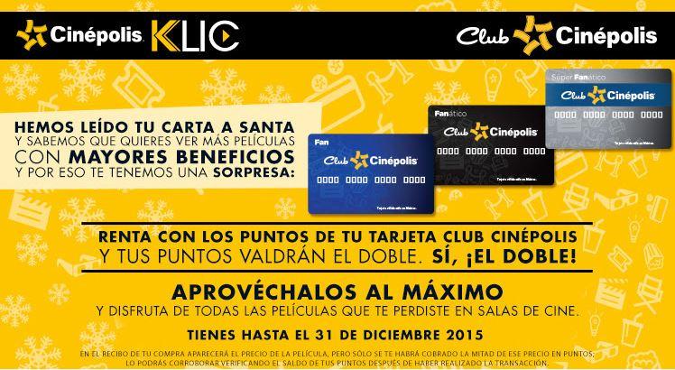 Cinépolis Klic - Renta de películas a mitad de precio con puntos de tarjeta club cinépolis