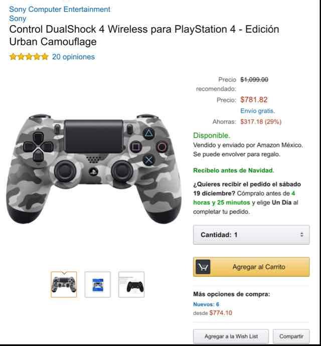 Amazon: Control DualShock 4 Edición Camouflage a $782