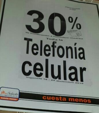 Chedraui 30% de bonificación en todos los celulares