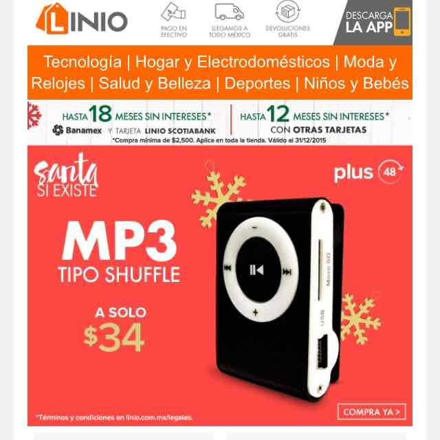 Linio App: mp3 shuffle a solo $34 (envío gratis con Linio+)