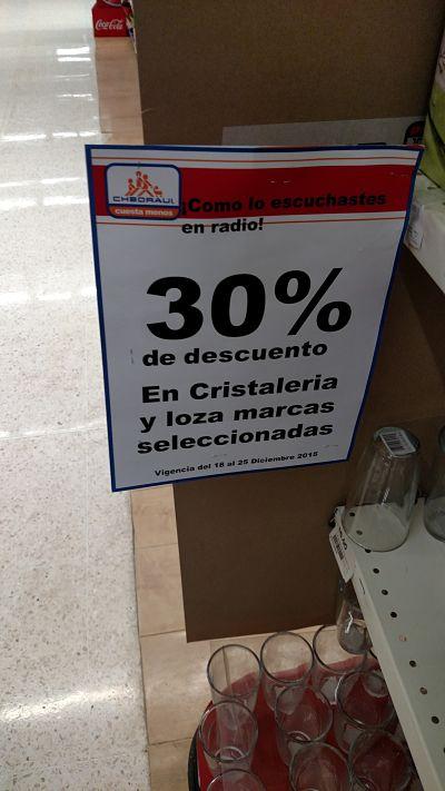 CHEDRAUI: 30% de descuento en cristaleria, Vasos con descuento en $2.73