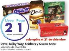 Farmacias Benavides: 2x1 en chocolates seleccioandos Milky Way, Snickers y Dove