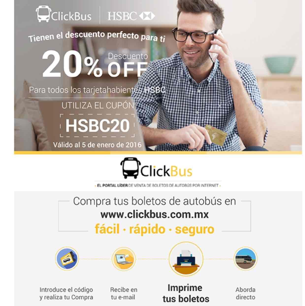 """Clickbus 20% de descuento con cupon """" HSBC20 """""""