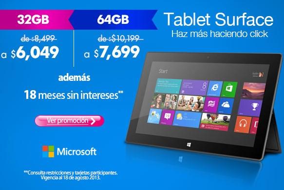 Baja de precio Surface RT de Microsoft (hasta $3,000 menos)