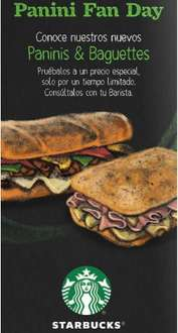 Starbucks Panini Fan Day: panini a precio especial cada día