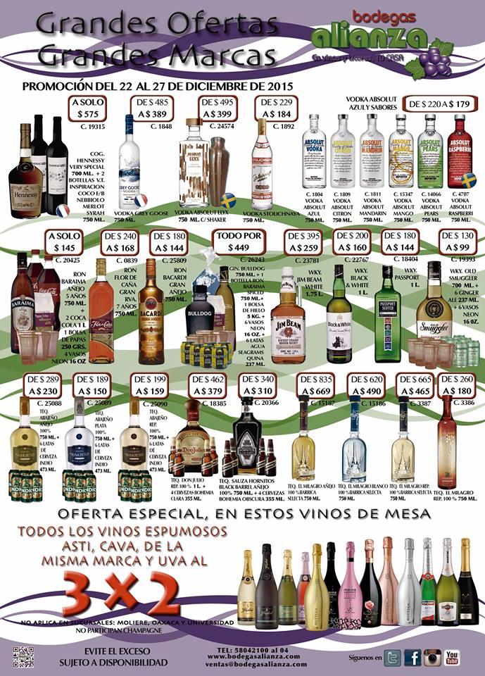 Bodegas alianza: Varios descuentos, ejemplo Vodka Absolut Variedad de Sabores $179