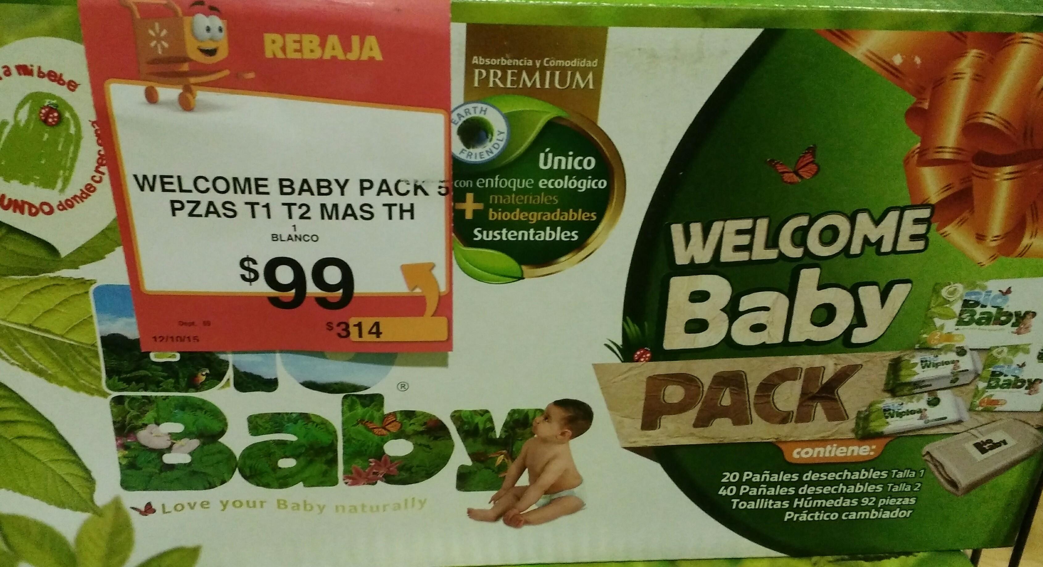 Walmart Paquete bio baby pañales t1, t2,  toallitas y pañalero