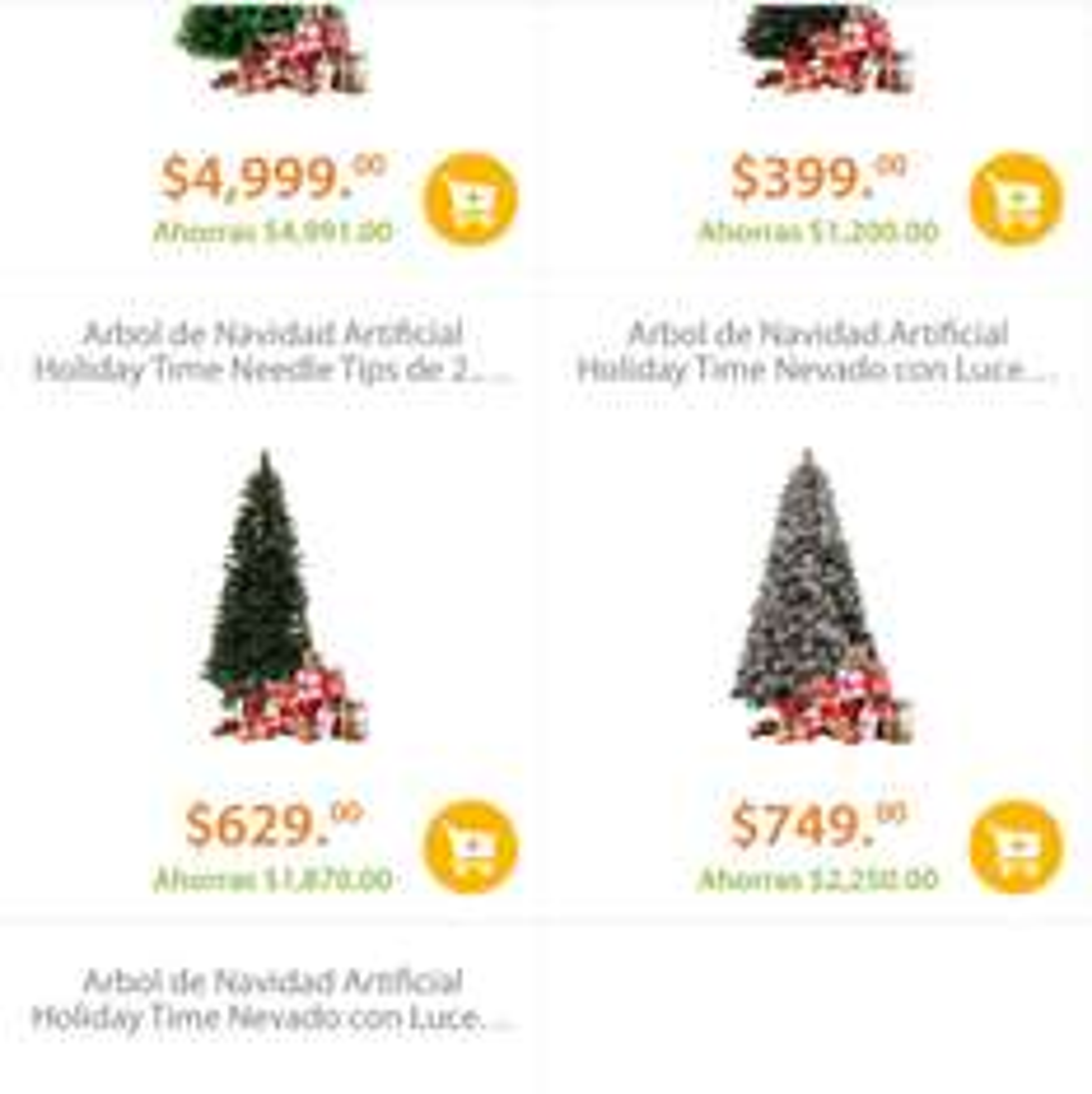 Walmart online: liquidación artículos navideños con hasta 75% (ejemplo árboles desde $399)