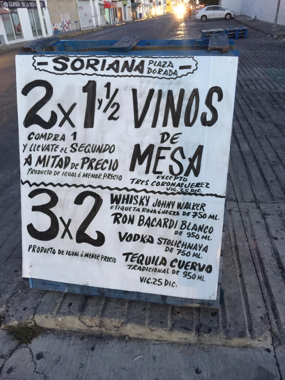 SORIANA: vinos de mesa 2x1 y medio y whisky al 3x2