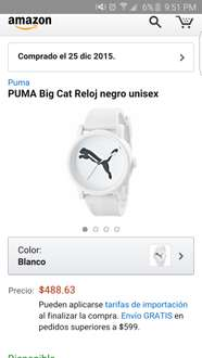 Amazon: reloj Puma blanco unisex a $488