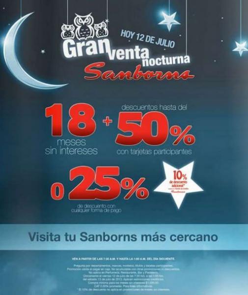 Venta Nocturna Sanborns el 12 de julio 2013
